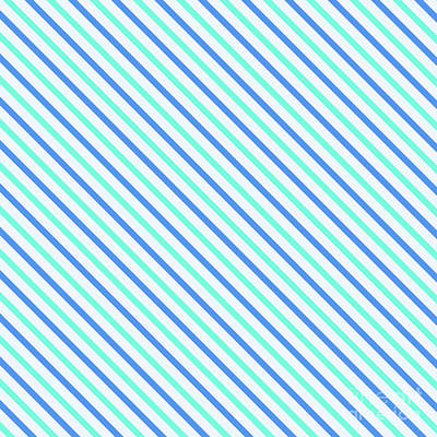 Digital Art - Stripes Diagonal Turquoise Blue Summer Simple Modern by Beverly Claire Kaiya