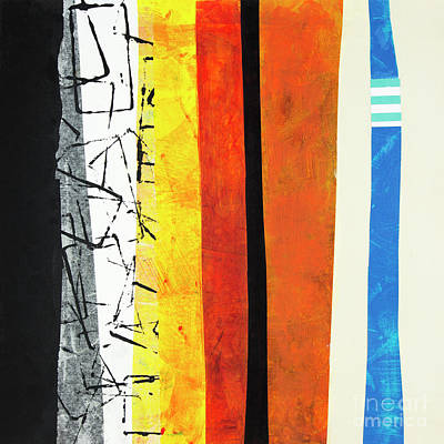 Collage On Paper Mixed Media - Stripes by Elena Nosyreva