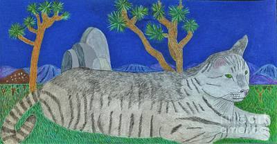 Drawing - Stripey Cat At Joshua Tree by Julia Hanna