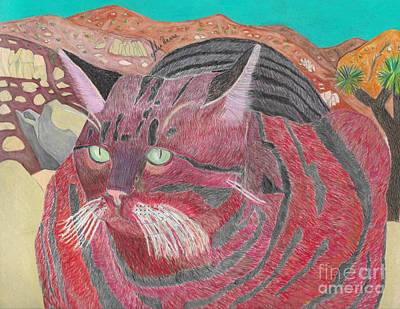 Drawing - Stripey Cat Visits Joshua Tree by Julia Hanna