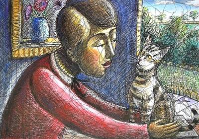 Painting - Stripey Cat With Girl by June Walker