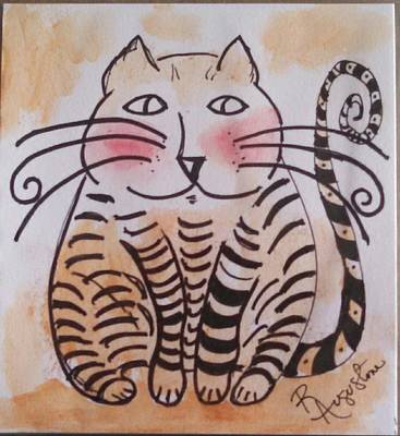 Painting - Stripped Cat by Rosemary Augustine
