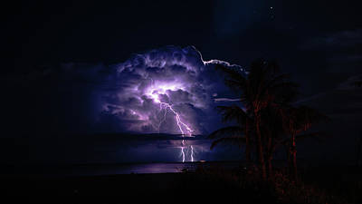 Photograph - Strobing Thunderstorm 1 Delray Beach Florida by Lawrence S Richardson Jr