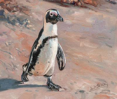 Penguin Painting - Stroll Along The Beach by David Stribbling