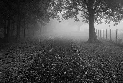 Photograph - Stroll Into Fog - Bw by Greg Jackson