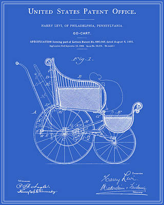 Stroller Patent - Blueprint Print by Finlay McNevin