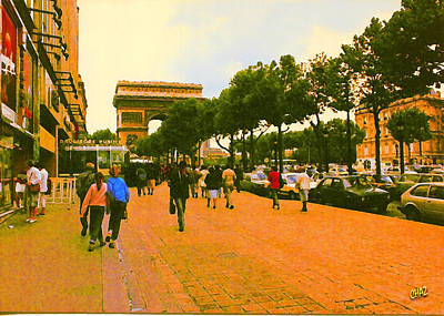 Strollers Along The Champs Elysees Art Print