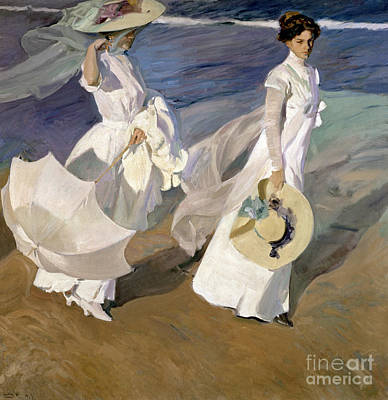 Old-fashioned Painting - Strolling Along The Seashore by Joaquin Sorolla y Bastida