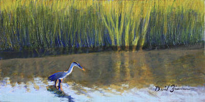 South Carolina Low Country Marsh Painting - Strolling For A Meal by David Zimmerman