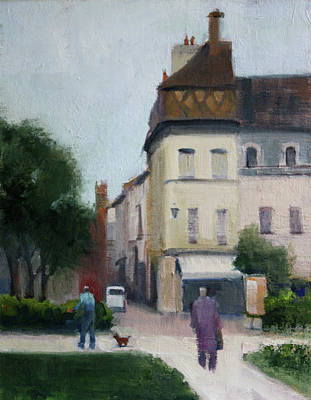 Store Fronts Painting - Strolling In France by Susan Novak