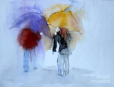 Strolling In The Rain Art Print by Vicki  Housel
