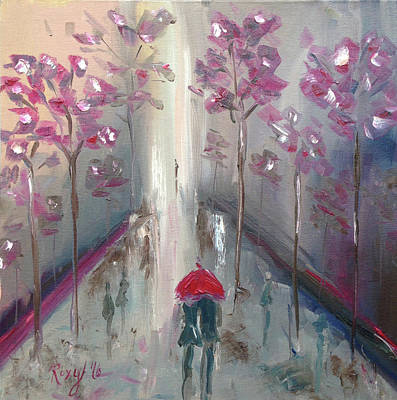 Red Umbrella Painting - Strolling by Roxy Rich