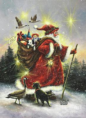 Strolling Santa Art Print by Vickie Wade