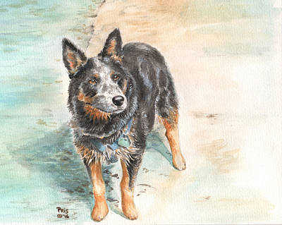 Blue Heeler Painting - Beach Patrol by Pris Hardy
