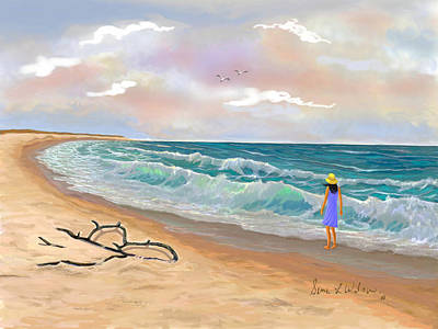 Art Print featuring the painting Strolling The Beach by Sena Wilson
