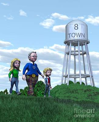 Painting - Strolling Through 8 Town by Dave Luebbert