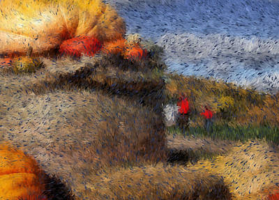 Pumpkins Digital Art - Strolling Through Autumn by Tingy Wende