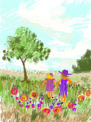 Strolling Thru The Field Art Print by Elaine Lanoue