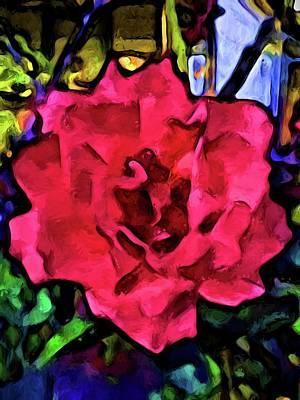 Digital Art - Strong Pink Rose by Jackie VanO