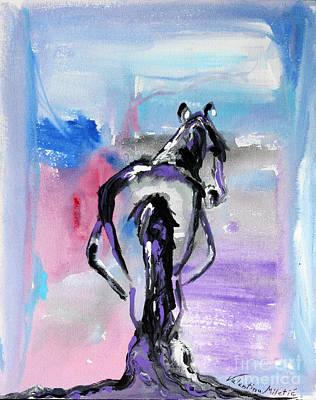 Purple Painting - Strong - Pregnant Mare - Horse Art By Valentina Miletic by Valentina Miletic
