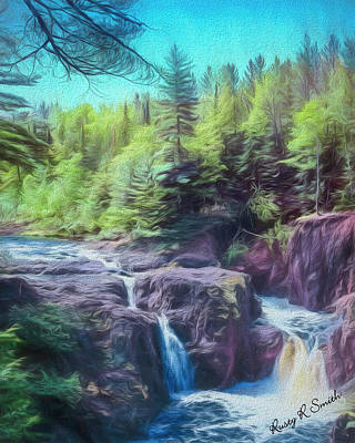 Digital Art - Strong Waterfalls In Copper River State Park Wisconsin by Rusty R Smith