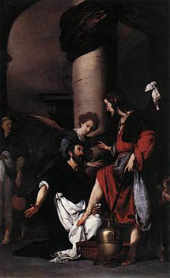 Photograph - Strozzi Bernardo St Augustine Washing The Feet Of Christ by Bernardo Strozzi