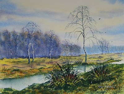 Painting - Stream In Flood On Strensall Common by Glenn Marshall