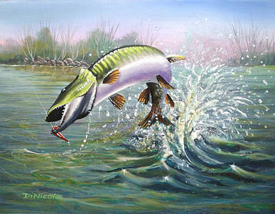 Muskies Painting - Strung Out by Anthony DiNicola