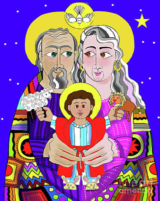 Painting - Sts. Ann And Joachim, Grandparents With Jesus - Mmjag by Br Mickey McGrath OSFS