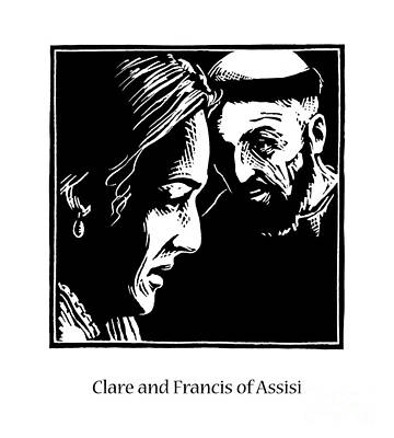 St. Clare Painting - Sts. Clare And Francis - Jlcaf by Julie Lonneman