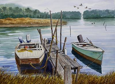 Small Boat Painting - Stuart's Dock  by Raymond Edmonds