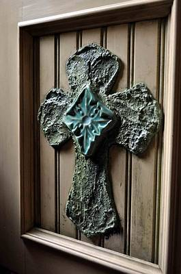 Stucco Cross On Cabinet Front Original