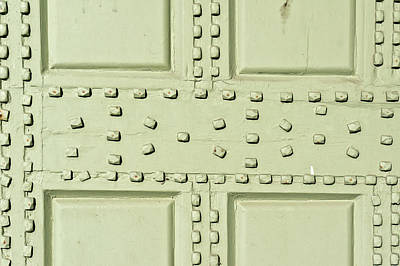 Rivets Photograph - Studded Wood Background by Tom Gowanlock