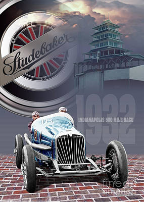 Digital Art - Studebaker At The Indy 500 by Ed Dooley