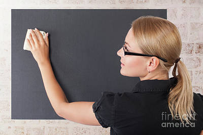 Photograph - Student Girl Near Blackboard by Anna Om