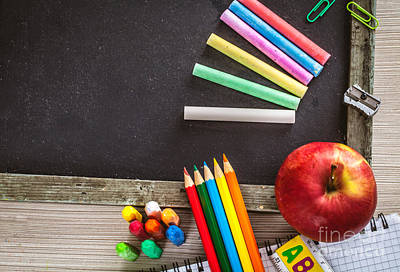 Back To Life Photograph - Student Supplies With Apple by Mythja Photography