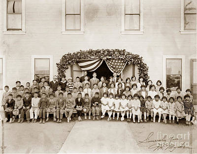Photograph - Students And Teachers Stand In Front Of The Japanese Association 1928 by California Views Mr Pat Hathaway Archives
