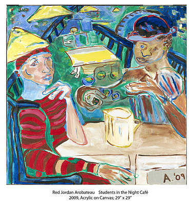 Painting - Students In The Night Cafe by Red Jordan Arobateau