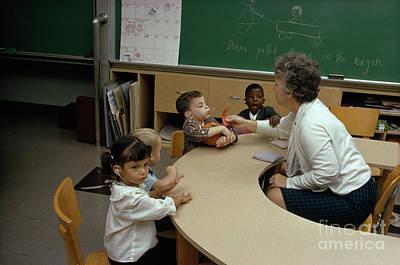 Photograph - Students Practice Their Speech With A Teacher by Joe Scherschel