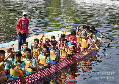 Photograph - Students Prepare For The Dragon Boat Races by Yali Shi