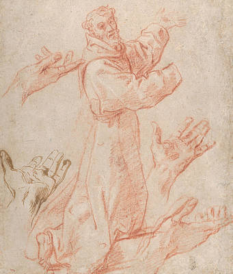 Drawing - Studies For A Figure Of Saint Francis Kneeling In A Three-quarter View And For His Hands by Annibale Carracci