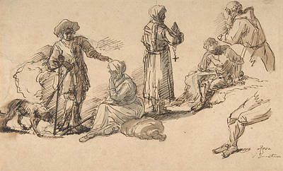 Drawing - Studies For Standing And Seated Figures by Salvator Rosa