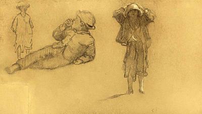 Eastman Johnson Drawing - Studies Of Children by Eastman Johnson