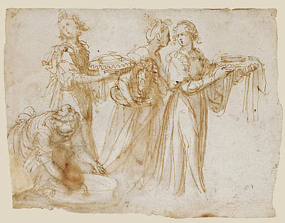 Drawing - Studies Of Four Women Carrying Vessels At The Scene Of A Birth by Guglielmo Caccia