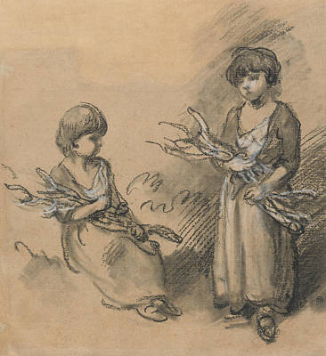 Drawing - Studies Of Girls Carrying Faggots by Thomas Gainsborough