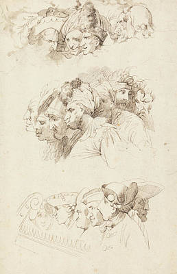 Drawing - Studies Of Groups Of Heads by John Hamilton Mortimer
