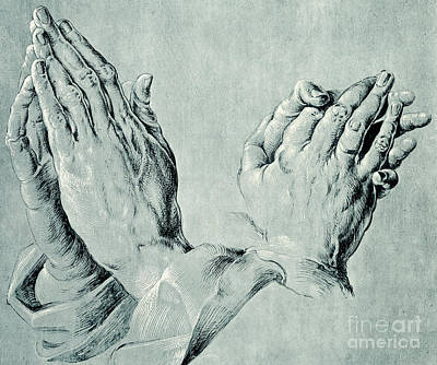 Prayer Drawing - Studies Of Hands by Hans Hoffmann