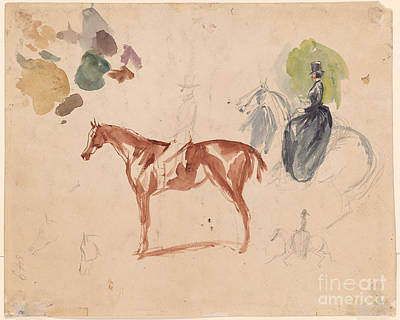 Man On Horse Painting - Studies Of Horses by MotionAge Designs