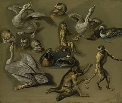 Studies Of Monkeys And Foul Art Print
