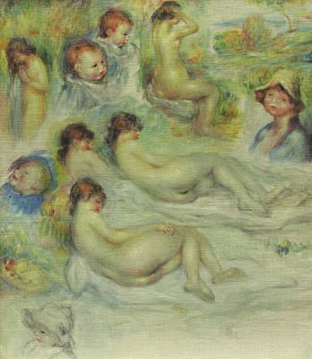 Studies Of Pierre Renoir, His Mother, Aline Charigot, Nudes, And Landscape Art Print by Pierre Auguste Renoir